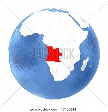 Angola On Globe Isolated On White