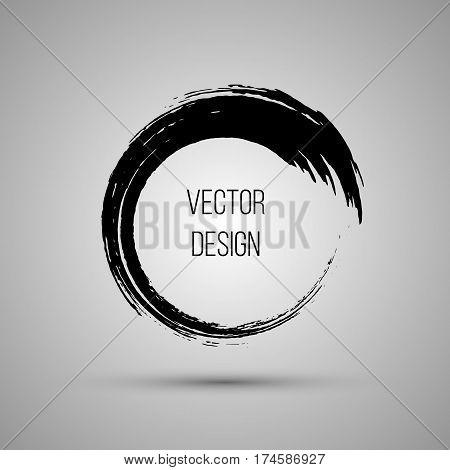 Hand drawn circle shape. Label, logo design element, frame. Brush abstract wave. Vector illustration.
