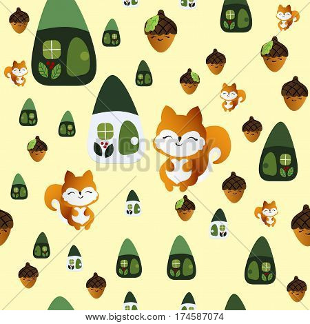 seamless pattern with smiling squirrel with acorns and fairy houses on a light yellow background