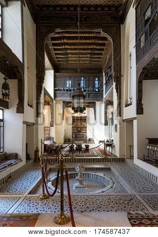 Cairo, Egypt - February 18, 2017: Ballroom of Gayer Anderson House, a seventeenth century historic house situated adjacent to the Mosque of Ahmad ibn Tulun in the Sayyida Zeinab neighborhood