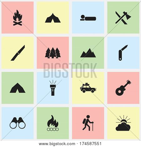 Set Of 16 Editable Trip Icons. Includes Symbols Such As Pine, Musical Instrument, Clasp-Knife And More. Can Be Used For Web, Mobile, UI And Infographic Design.