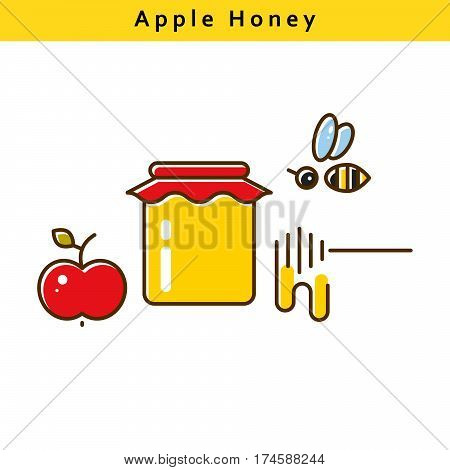 Apple honey vector colored line icons. Bee, honey and fruit symbols.