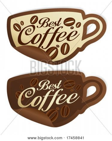 Best coffee stickers in form of cup.