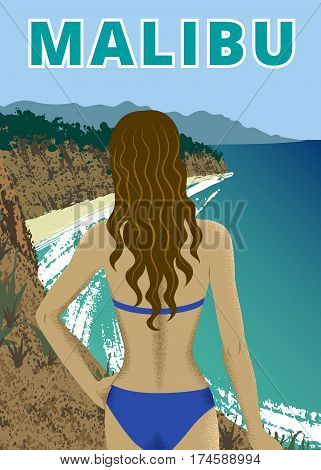 Young woman at Point Dume beach, Malibu, California
