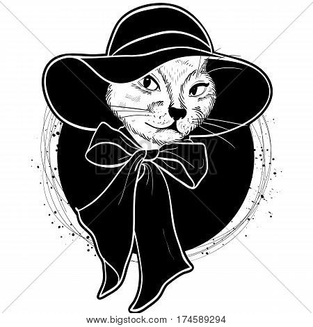 Vector color sketch of elegant cat woman face with wide brimmed hat and bow