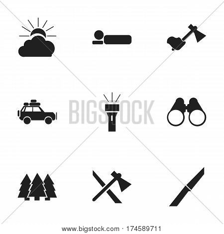 Set Of 9 Editable Travel Icons. Includes Symbols Such As Sunrise, Bedroll, Lantern And More. Can Be Used For Web, Mobile, UI And Infographic Design.