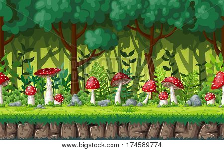 Seamless nature background with fly agric. Vector illustration with separate layers.