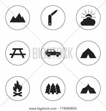 Set Of 9 Editable Trip Icons. Includes Symbols Such As Sport Vehicle, Desk, Sunrise And More. Can Be Used For Web, Mobile, UI And Infographic Design.