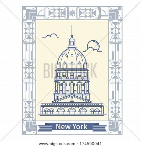 Travel New York  Thin line New York  tourist destination icon in rectangle The world building New York