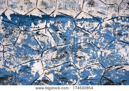 old used cracked blue painting asian wall background and texture