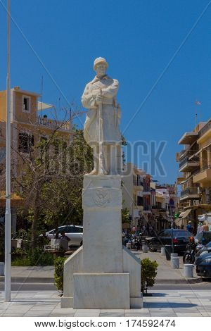 Rethymno, Greece - August  1, 2016:  The Statue Of The Unknown Soldier.