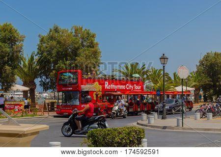 Rethymno, Greece - August  1, 2016:  Double Decker Touristic Bus.