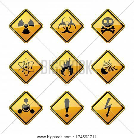 Set of warning danger signs isolated on white background. Vector illustration. Set of warning hazard signs.