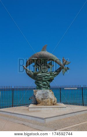 Rethymno, Greece - August  1, 2016:  Symbol Of Rethymno Statue.
