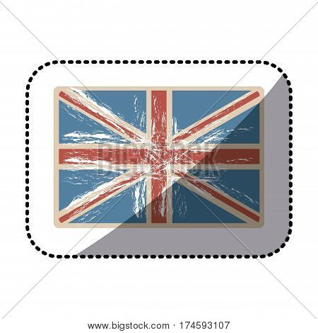 sticker flag united kingdom with opaque grunge texture vector illustration