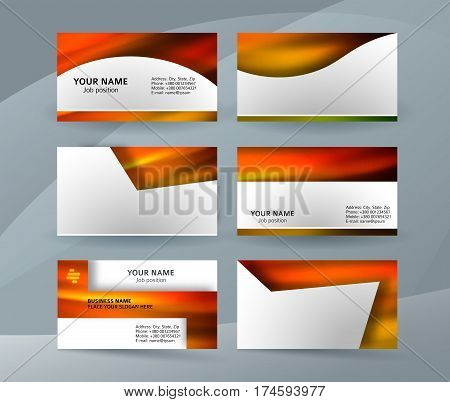 Business Card Layout Template Set21