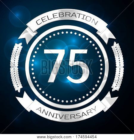 Seventy five years anniversary celebration with silver ring and ribbon on blue background. Vector illustration