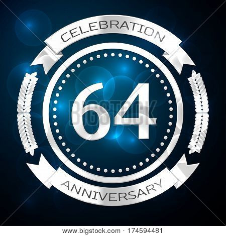 Sixty four years anniversary celebration with silver ring and ribbon on blue background. Vector illustration