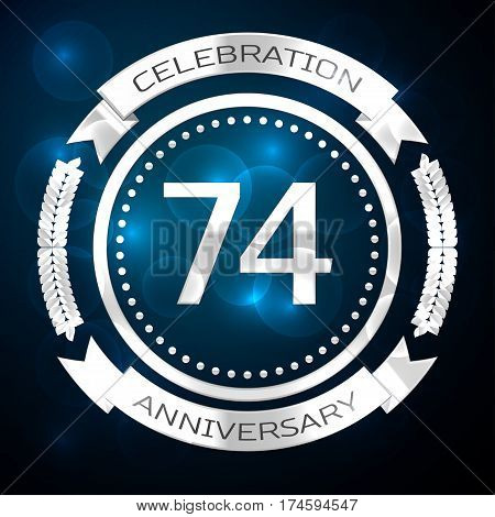 Seventy four years anniversary celebration with silver ring and ribbon on blue background. Vector illustration
