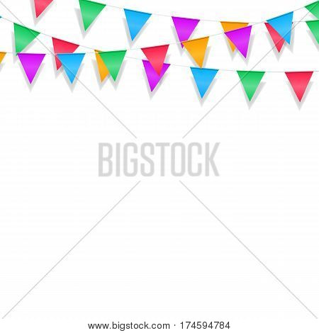 Holiday garland background. Festive glossy garlands isolated on white background.