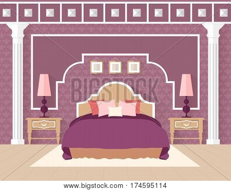 Bedroom in flat style in purple color. Interior with furniture. Classic lilac bedroom. Vector illustration. Interior design