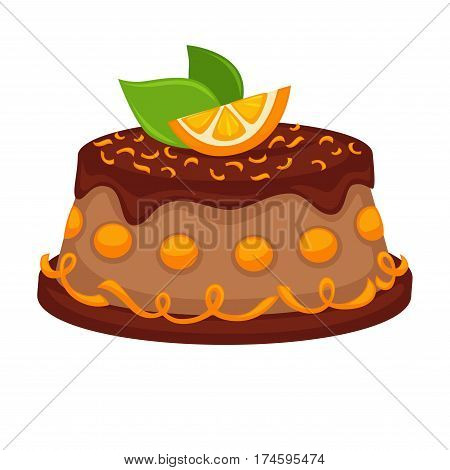 Chocolate cake pie or torte with orange fruit topping. Vector template icon for pastry or patisserie and cafeteria