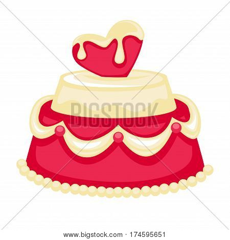Wedding cake with pink heart and bridal decor of white chocolate and caramel cream. Vector template icon for pastry or patisserie and cafeteria