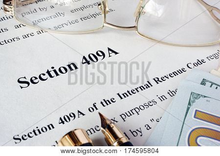 Internal Revenue Code section 409A written in a document.