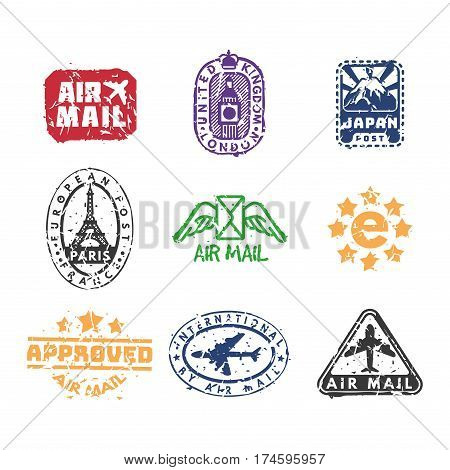 Vector set of vintage postage mail stamps. Retro delivery collection grunge print. Postmark design correspondence sign. Antique communication template texture. poster