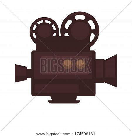 Cinema movie or film camera logo for cinema design element. Vector isolated retro videocamera flat icon