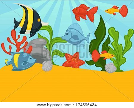 Aquarium with tropical fishes and plants. Vector illustration of fish tank with goldfish, clownfish, corals or seaweed algae and starfish. Underwater sea life background