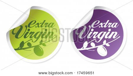 Extra virgin olive oil stickers set