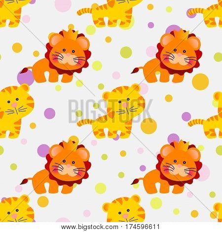 Drawing of a seamless pattern with cute african animals - lion and tiger in cartoon style