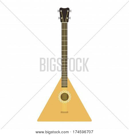 Vector instrument balalaika guitar folk musical melody symbol acoustic sound classical violin and national music equipment isolated illustration. Retro orchestra play audio sign.