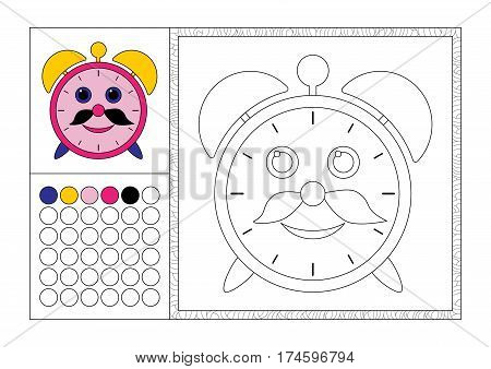 adult coloring book page with colored template decorative frame and color swatch - vector black and white contour picture - alarm clock with mustache