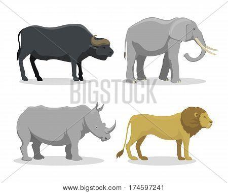 Cute cartoon safari animals vector illustration. Big elephant and funny lion tropical nature wildlife safari mammal. Jungle tall characters.