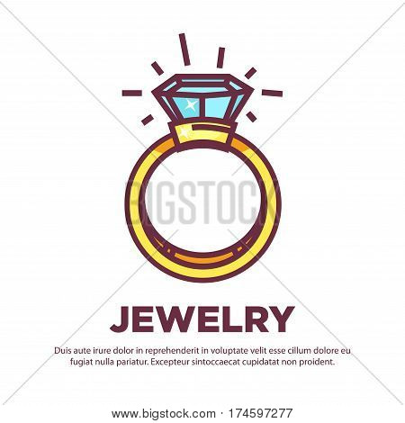 Jewelry golden diamond wedding ring with gems. Vector flat icon of luxury bijou. Design element for jeweler online shop
