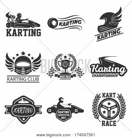 Karting or kart races club or tournament logo templates. Icons set of racing cars, steering wheel and racer driver for championship award. Vector symbols of winner cup, victory laurel wreath and stars