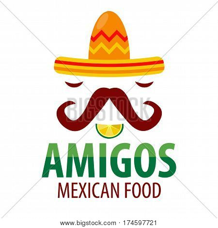 Mexican restaurant Amigos logo template of sombrero hat with mustaches, lemon lime slice mouth and chili pepper eyes. Mexico food factory or sign or tequila bar vector isolated icon