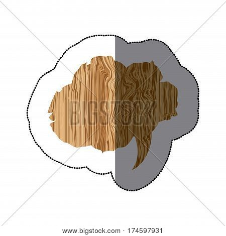 sticker realistc wooden texture cloud dialog callout vector illustration
