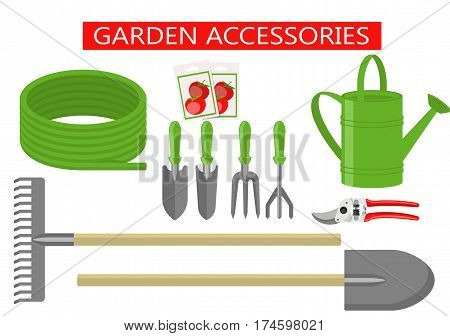Set of Gardening work tools flat icons. Gardening Tools equipment for working in garden, secateurs, seeds, shovel, watering can, hose, rake, etc. Flat vector illustration set on white background