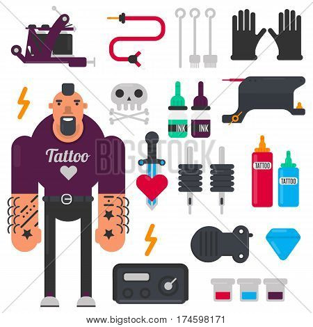 Tattoo or tattooist profession and tattooing machine tools or equipment. Ink needles, safety gloves vector icons set