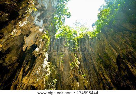 view on limestone Batu caves. Kuala Lumpur. Malaysia