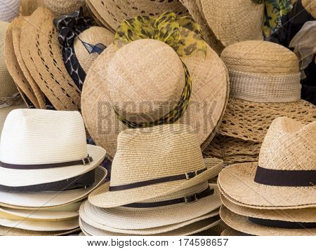 selection of straw hats