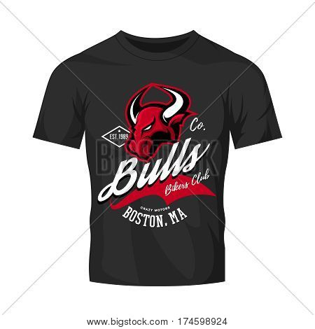 Vintage American furious bull bikers club tee print vector design isolated on black t-shirt mockup.   Massachusetts, Boston street wear t-shirt emblem. Premium quality wild animal superior logo concept illustration.