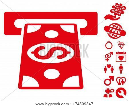 Cash Withdraw pictograph with bonus dating images. Vector illustration style is flat iconic symbols on white background.