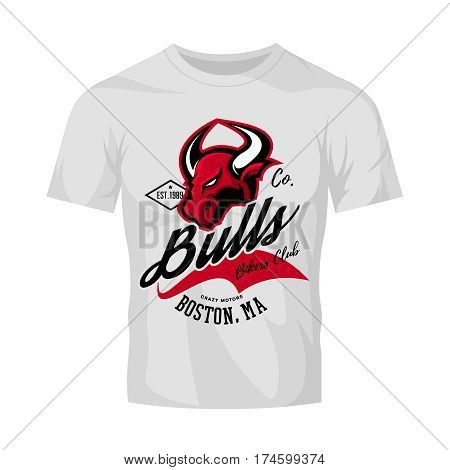 Vintage American furious bull bikers club tee print vector design isolated on white t-shirt mockup.   Massachusetts, Boston street wear t-shirt emblem. Premium quality wild animal superior logo concept illustration.