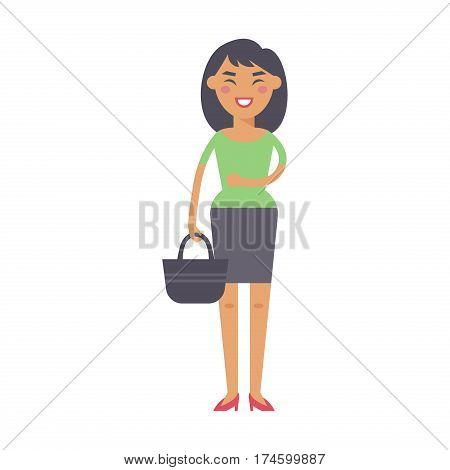 Fashion woman modern city life concept happy smiling entrepreneur standing professional and handsome successful adult character vector illustration. Confident smile corporate executive people.