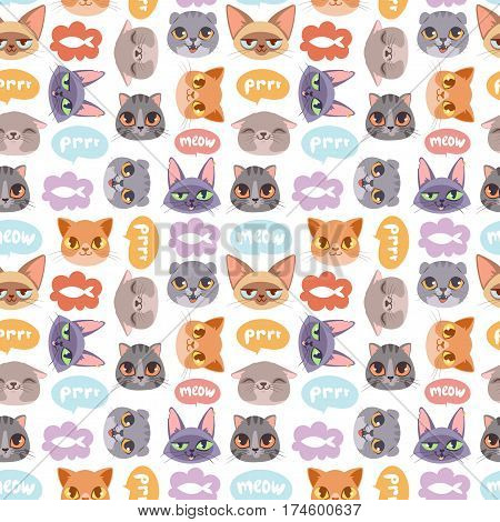 Cats heads vector illustration. Cute animal funny decorative characters. Color abstract feline domestic trendy pet drawn. Happy mammal fur adorable breed seamless pattern