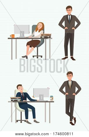 People woman and Man office workers sleep at work. Taken by surprise angry boss, chief. Colorful flat illustration.